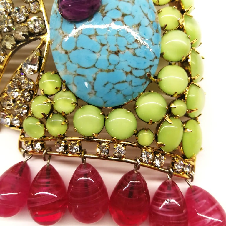 A very large multi coloured paste 'parrot' brooch, Iradj Moini, USA, 1990s. For Sale 7