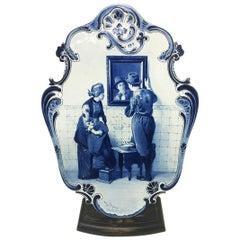 Very Large Plate by Dutch Delft Porceleyne Fles after C. Bisschop, 1889