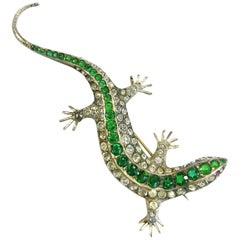 A very large silver and paste' lizard' brooch, c1900s