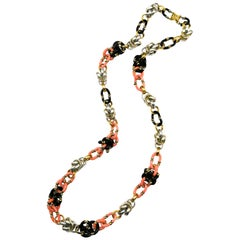A very long Murano glass and metal chain necklace, A Seguso for Chanel, 1970s.
