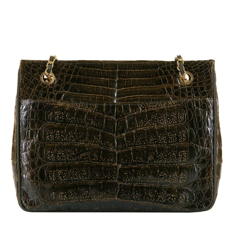 Black A Very Rare Chanel Chocolate Brown Alligator Shoulder Bag by Karl Lagerfeld For Sale
