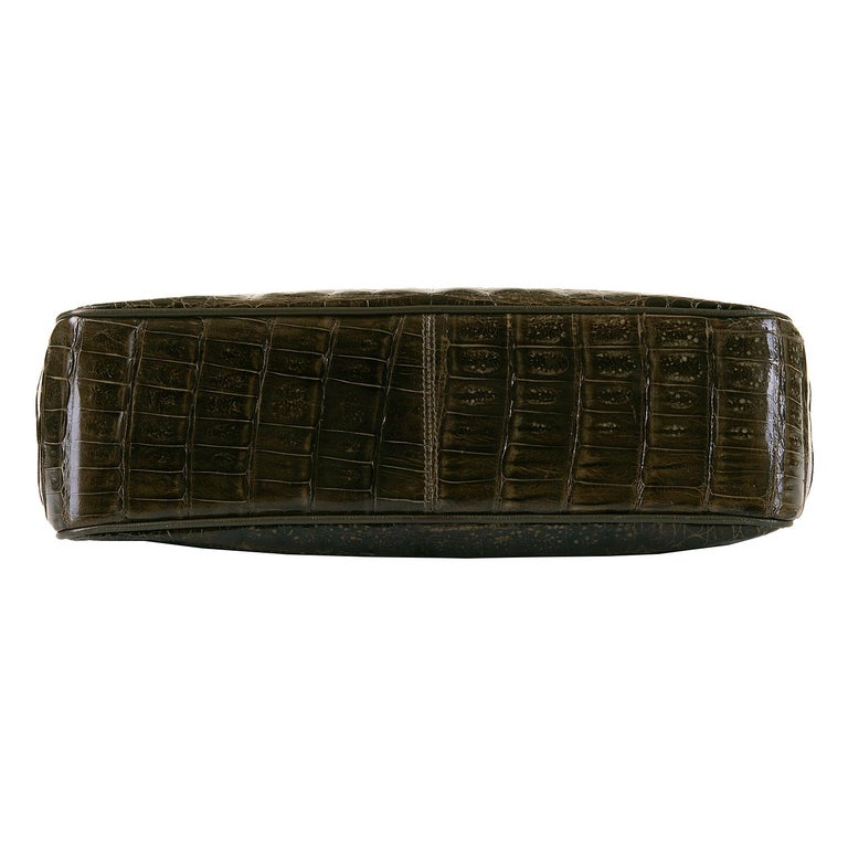A Very Rare Chanel Chocolate Brown Alligator Shoulder Bag by Karl Lagerfeld For Sale 1