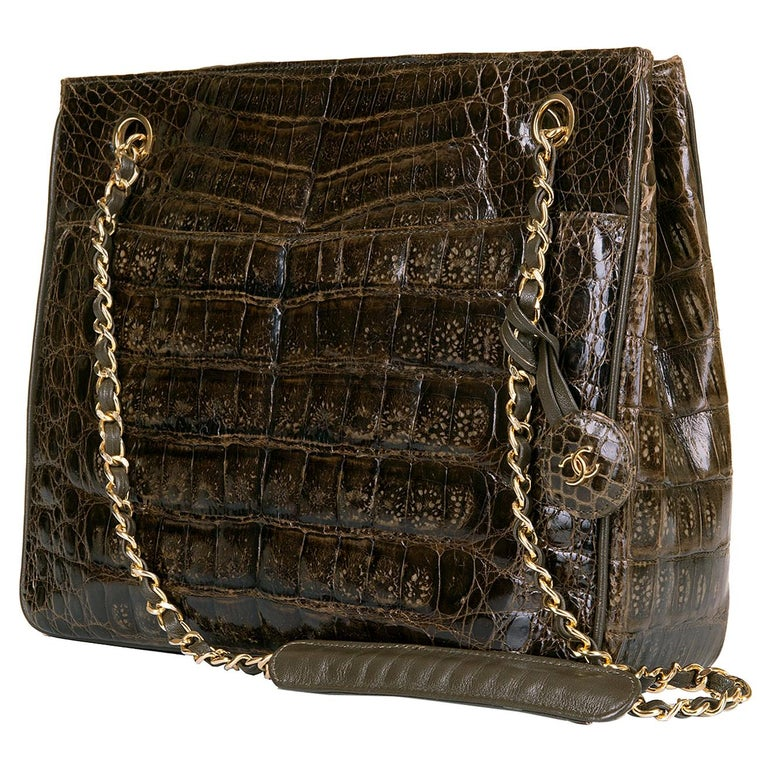 A Very Rare Chanel Chocolate Brown Alligator Shoulder Bag by Karl Lagerfeld For Sale