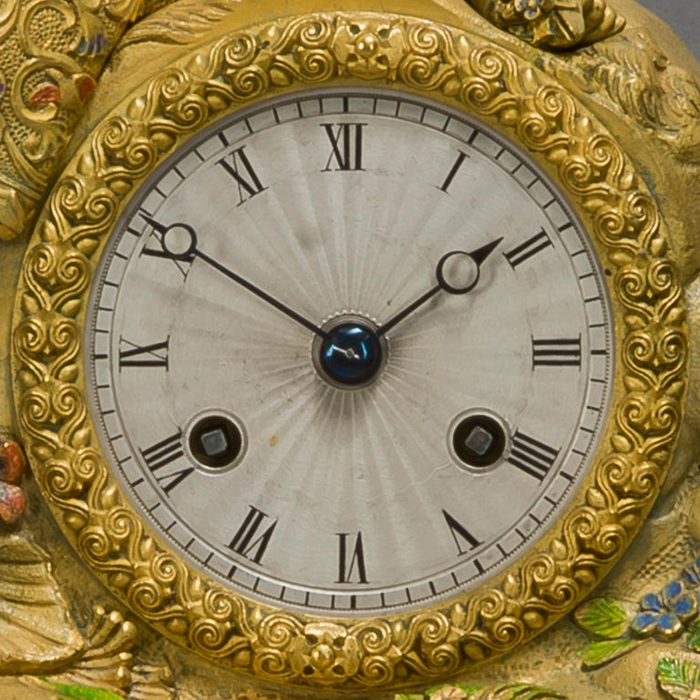 French Very Rare Chinoiserie Style Gilt-Bronze and Enamel Figural Clock, circa 1830 For Sale