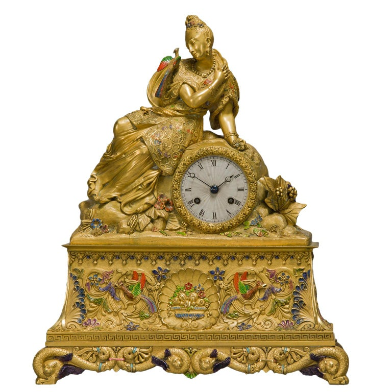 Very Rare Chinoiserie Style Gilt-Bronze and Enamel Figural Clock, circa 1830 For Sale