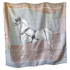 """A Very Rare Hermes 100% Silk Scarf """"H Cheval"""" by Anamorphée"""
