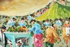 Impressionist  Paris Sunday Outdoor Market  Landscape Figurative Painting