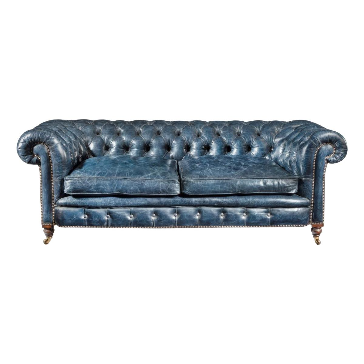 Victorian 2-Seater Leather Chesterfield Sofa