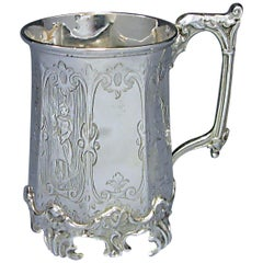 Victorian Antique Silver Octagonal Sided Christening Mug