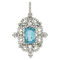 A Victorian Aquamarine, Diamond and Pearl Pendant