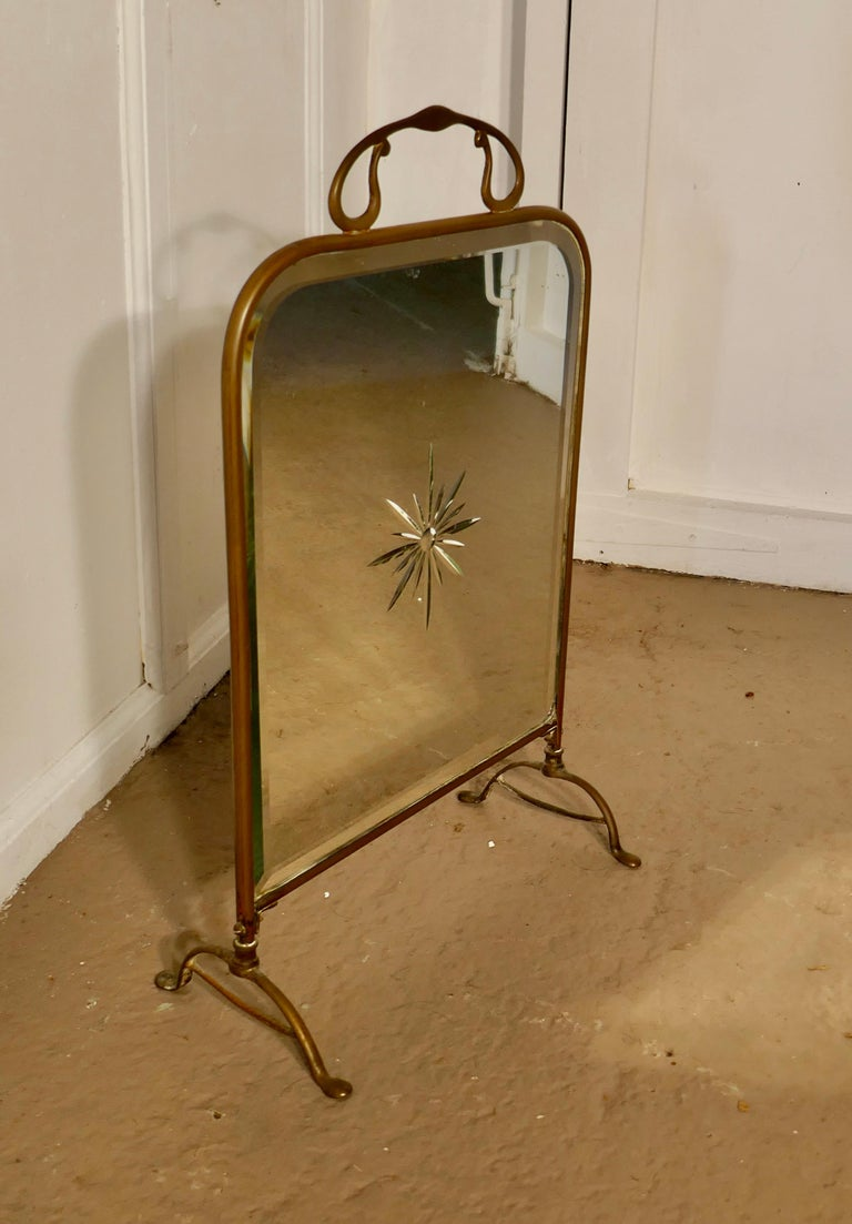 Late 19th Century Victorian Art Nouveau Brass and Sunburst Mirror Fire Screen For Sale
