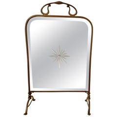 Victorian Art Nouveau Brass and Sunburst Mirror Fire Screen