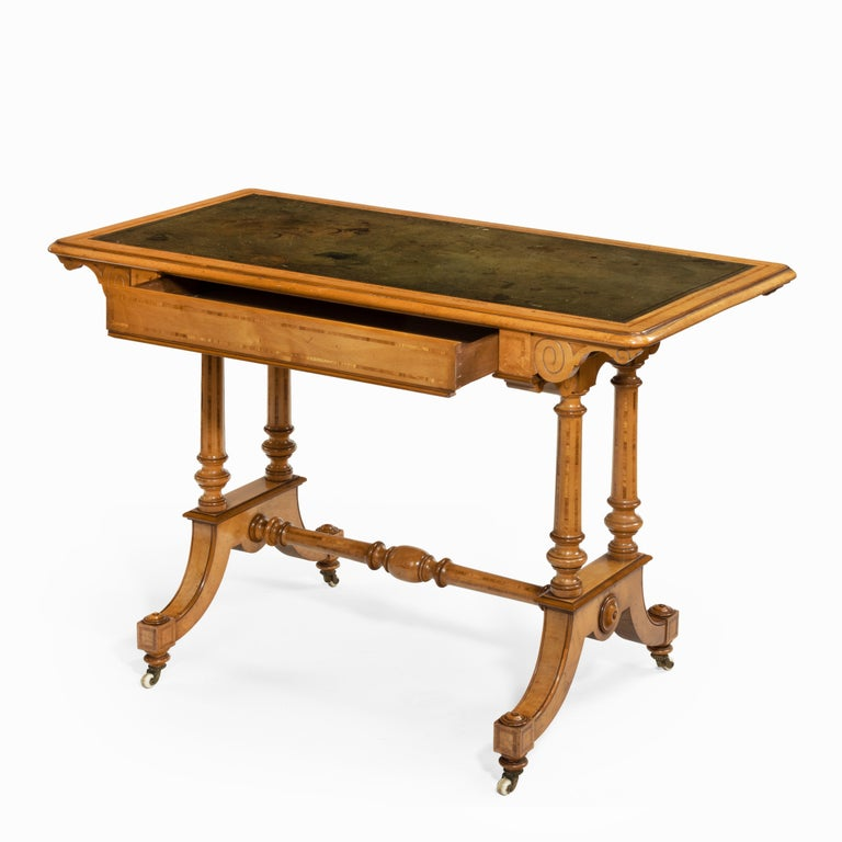 Victorian Birch or Satinwood Writing Table, Attributed to Holland and Sons In Good Condition For Sale In Lymington, Hampshire