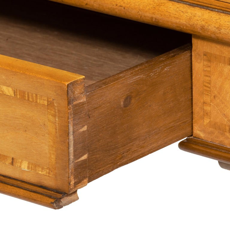 Late 19th Century Victorian Birch or Satinwood Writing Table, Attributed to Holland and Sons For Sale