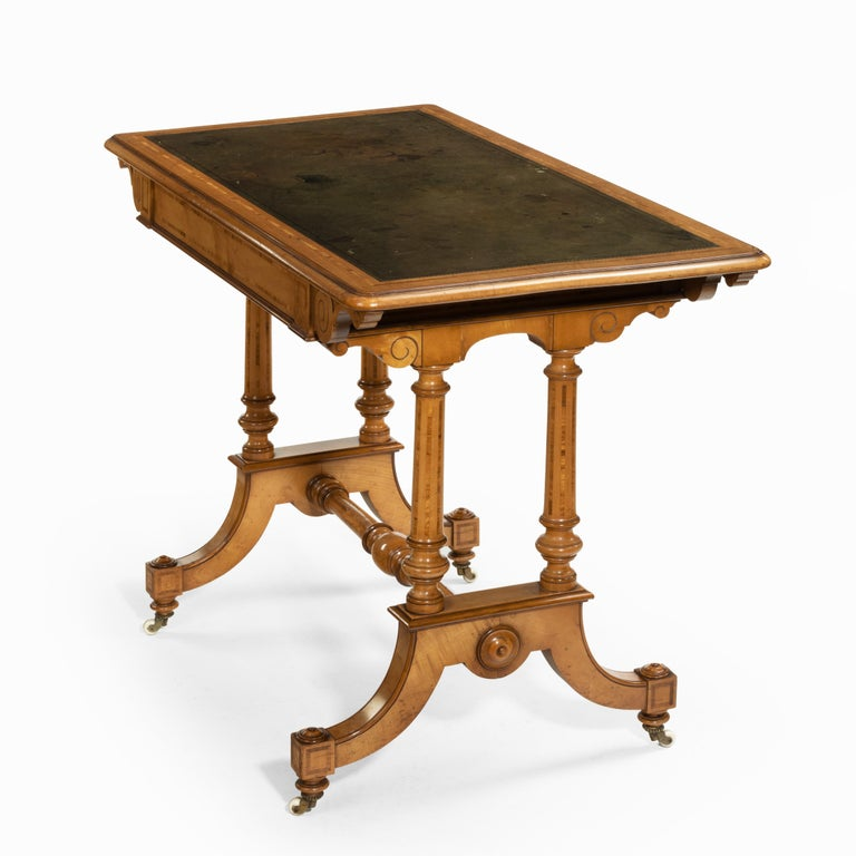 Ceramic Victorian Birch or Satinwood Writing Table, Attributed to Holland and Sons For Sale