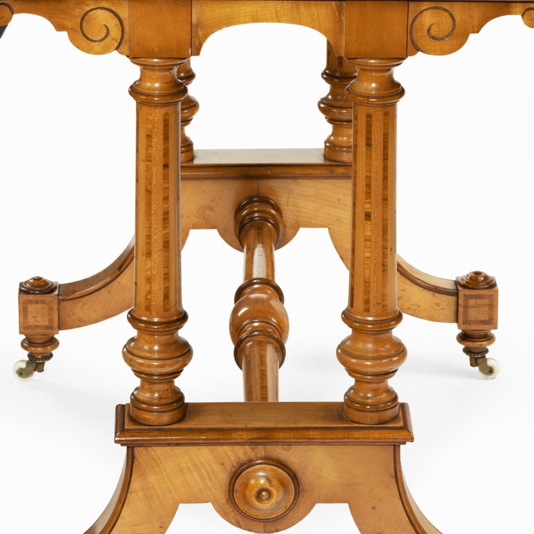Victorian Birch or Satinwood Writing Table, Attributed to Holland and Sons For Sale 1