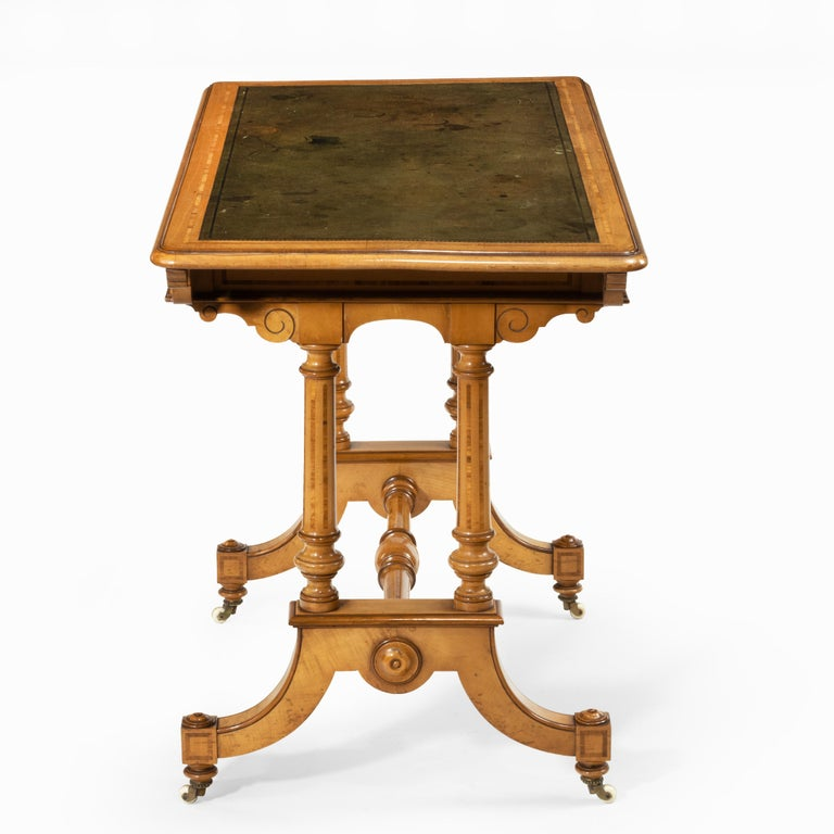 Victorian Birch or Satinwood Writing Table, Attributed to Holland and Sons For Sale 2