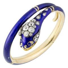 A Victorian Bristol Blue Enamelled Serpent Bangle