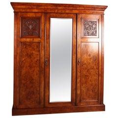 Victorian Burr Walnut Compactum Wardrobe Which Breaks Down into Five Pieces
