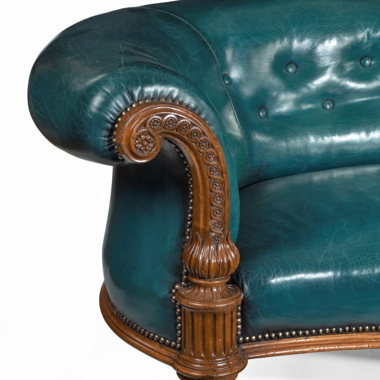 Victorian Carved Walnut Leathered Sofa For Sale 1