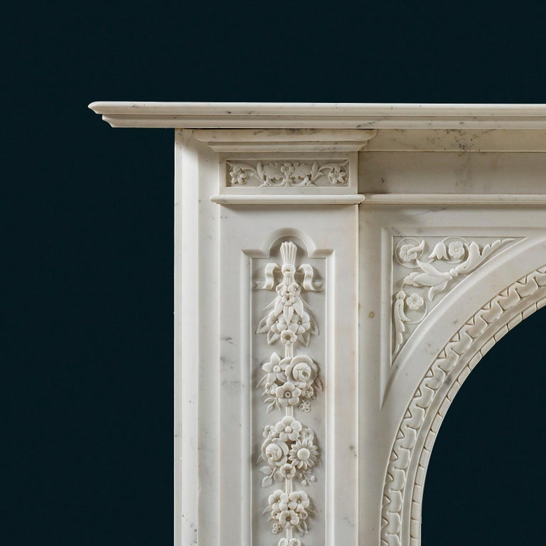 Late Victorian Victorian Chimneypiece of Robust Architectural Form in Carrara Marble For Sale