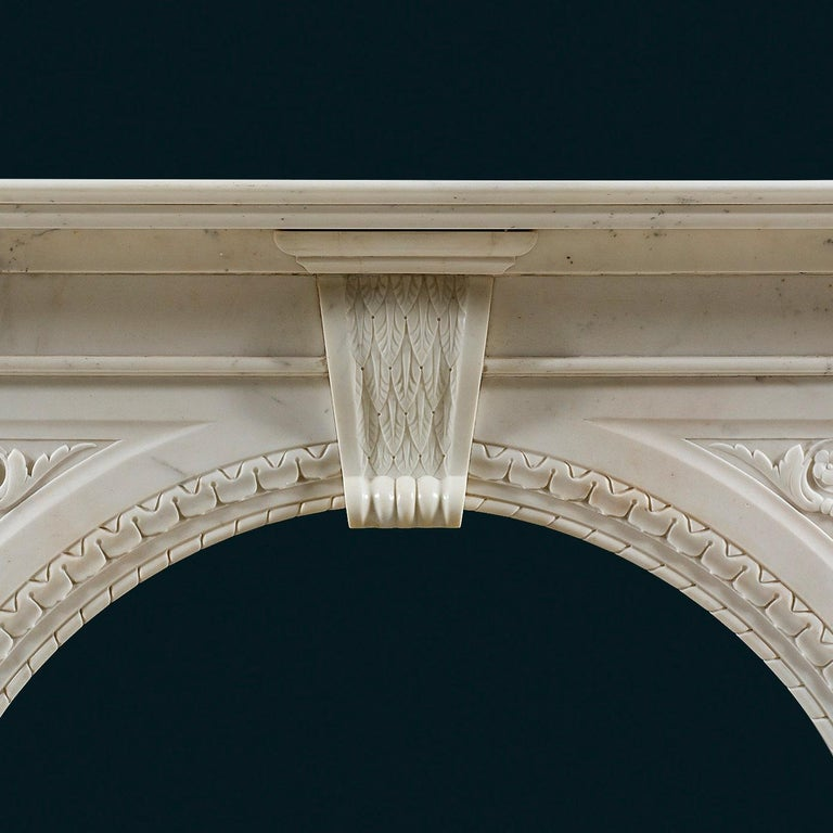 British Victorian Chimneypiece of Robust Architectural Form in Carrara Marble For Sale