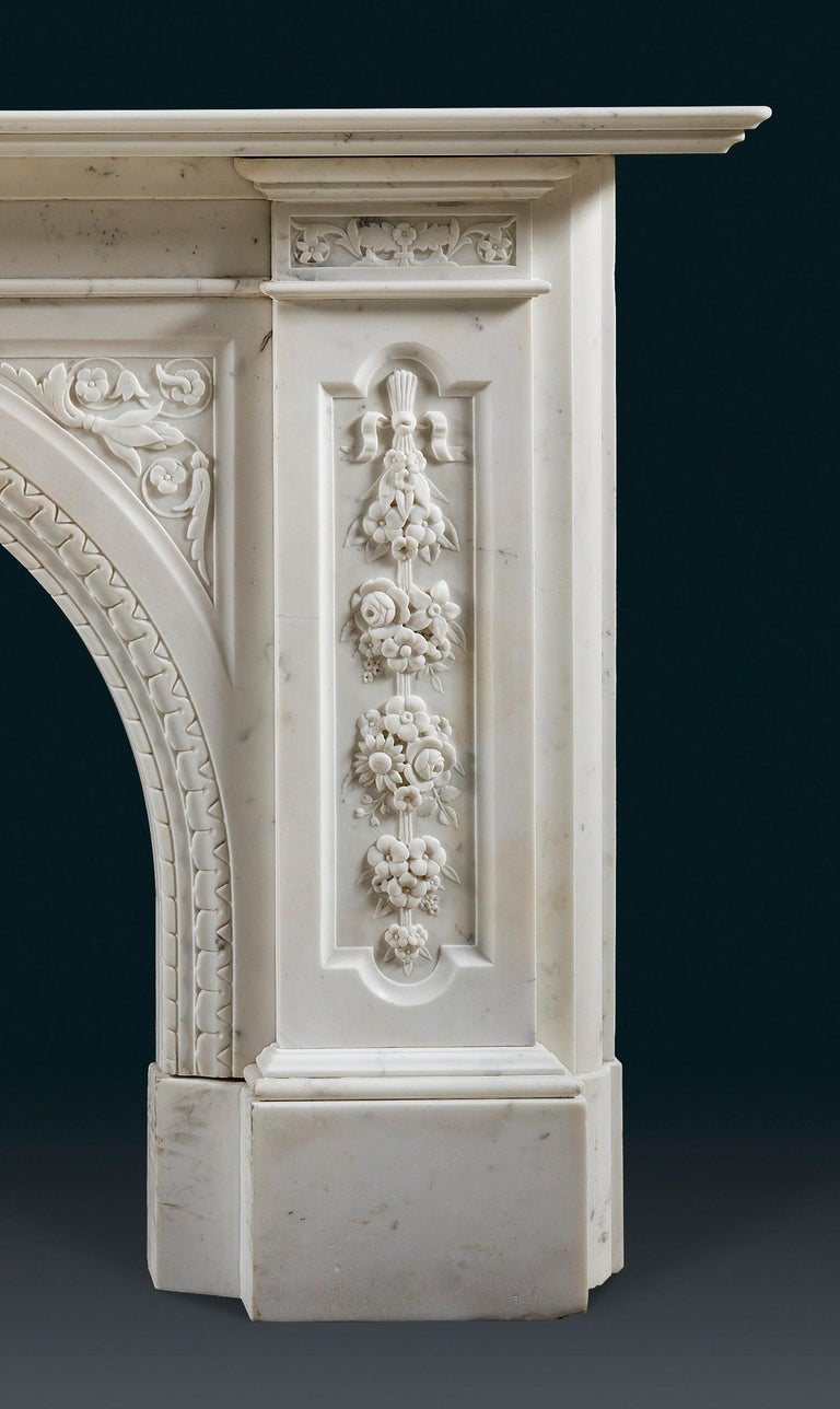 Hand-Carved Victorian Chimneypiece of Robust Architectural Form in Carrara Marble For Sale