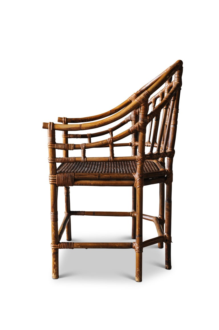 English Victorian Chinese Chippendale Faux Bamboo Conservatory Armchair For Sale