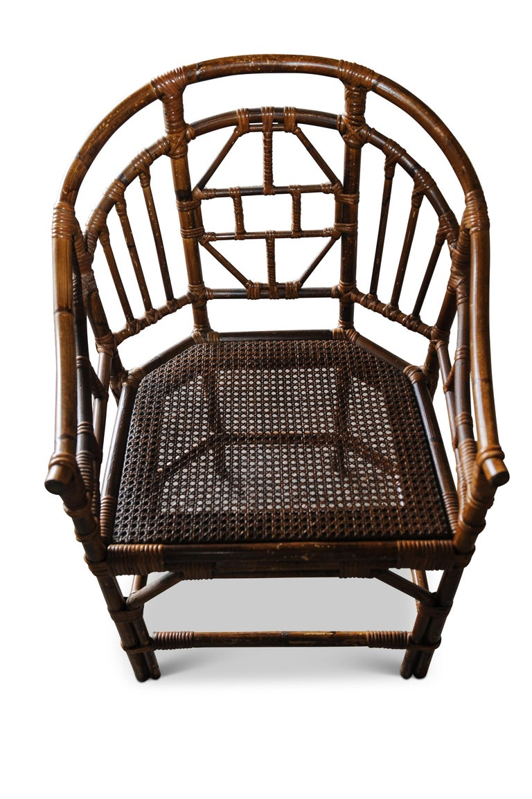 Victorian Chinese Chippendale Faux Bamboo Conservatory Armchair In Good Condition For Sale In High Wycombe, Buckinghamshire