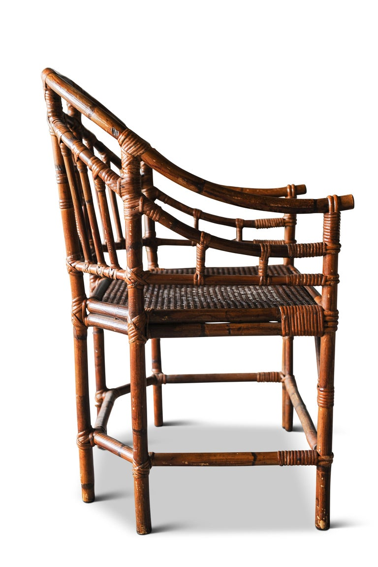 19th Century Victorian Chinese Chippendale Faux Bamboo Conservatory Armchair For Sale