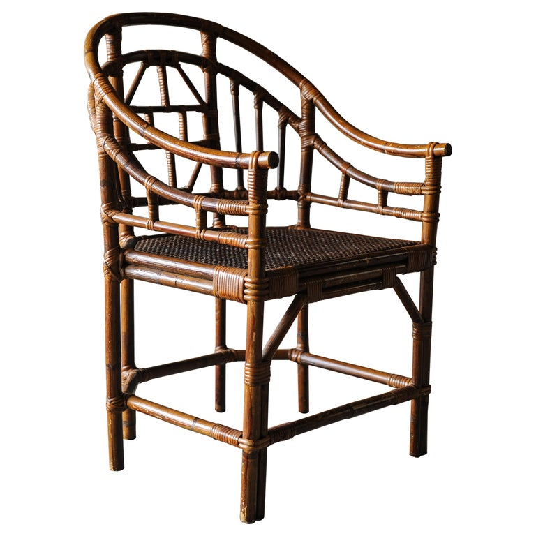 Victorian Chinese Chippendale Faux Bamboo Conservatory Armchair For Sale