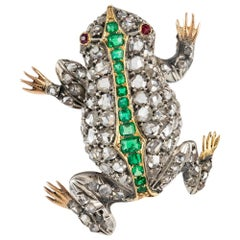 Victorian Diamond and Emerald Encrusted Frog
