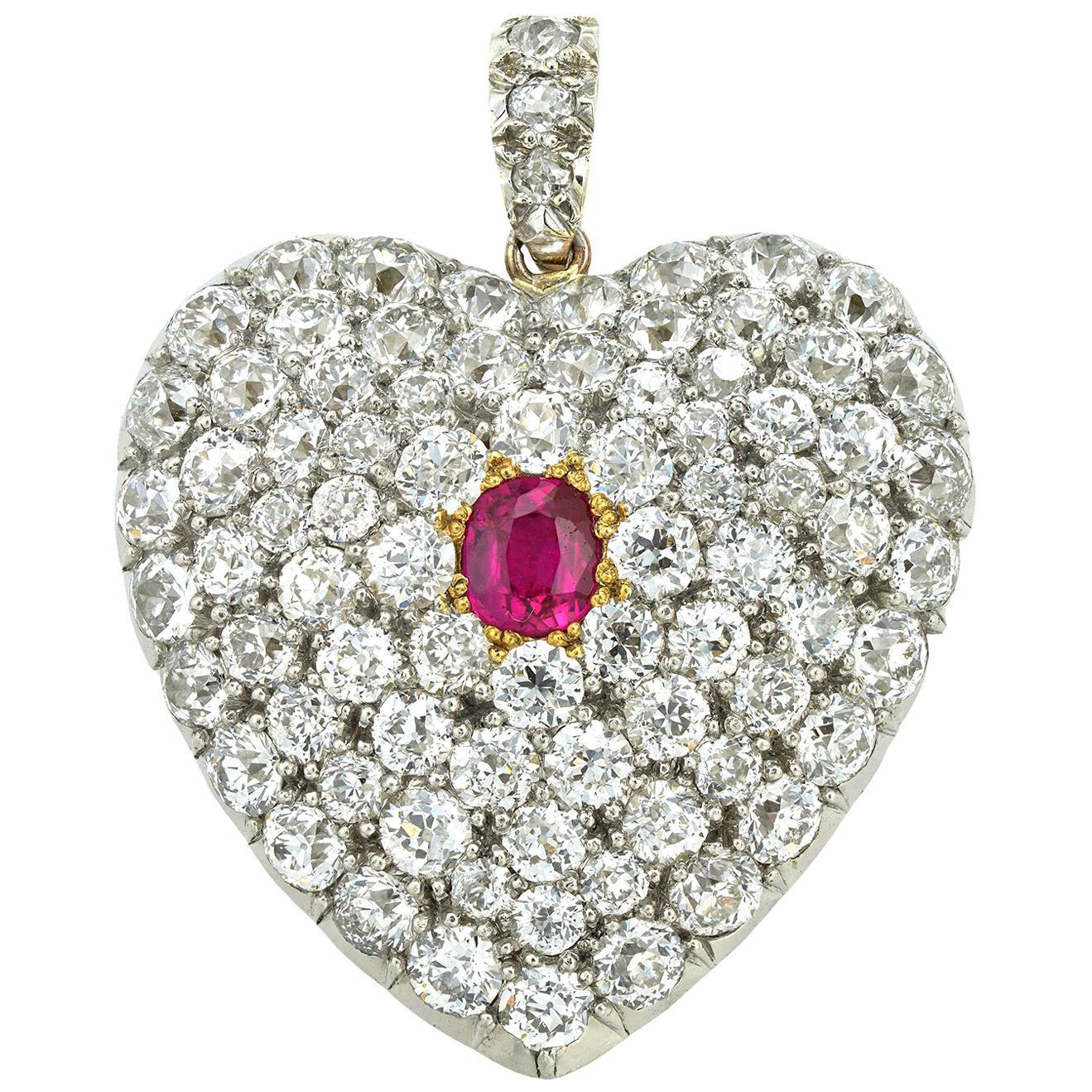 Victorian Diamond and Ruby Heart-Locket Pendant
