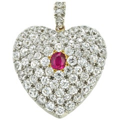 Victorian Diamond and Ruby Heart-Locket Pendant