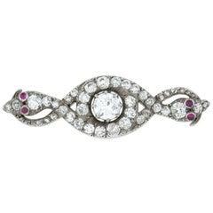 Victorian Diamond Double Serpent Brooch