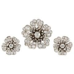 Victorian Diamond Flower Demi-Parure