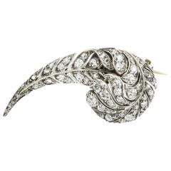 A Victorian Diamond-Set Feather Brooch