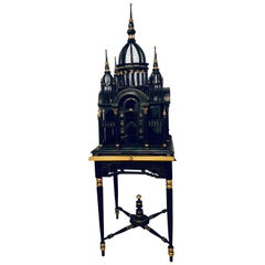 Victorian Ebony and Gilt Faux Marble Decorated Birdcage on a Stand