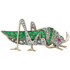 Victorian Emerald, Ruby and Diamond Grasshopper Brooch