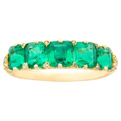 Victorian Five-Stone Carved Half Hoop Emerald Ring