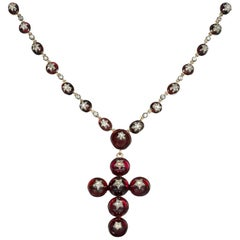 Victorian Garnet and Diamond Cross Necklace