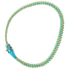 Victorian Gold and Turquoise Serpent Necklace
