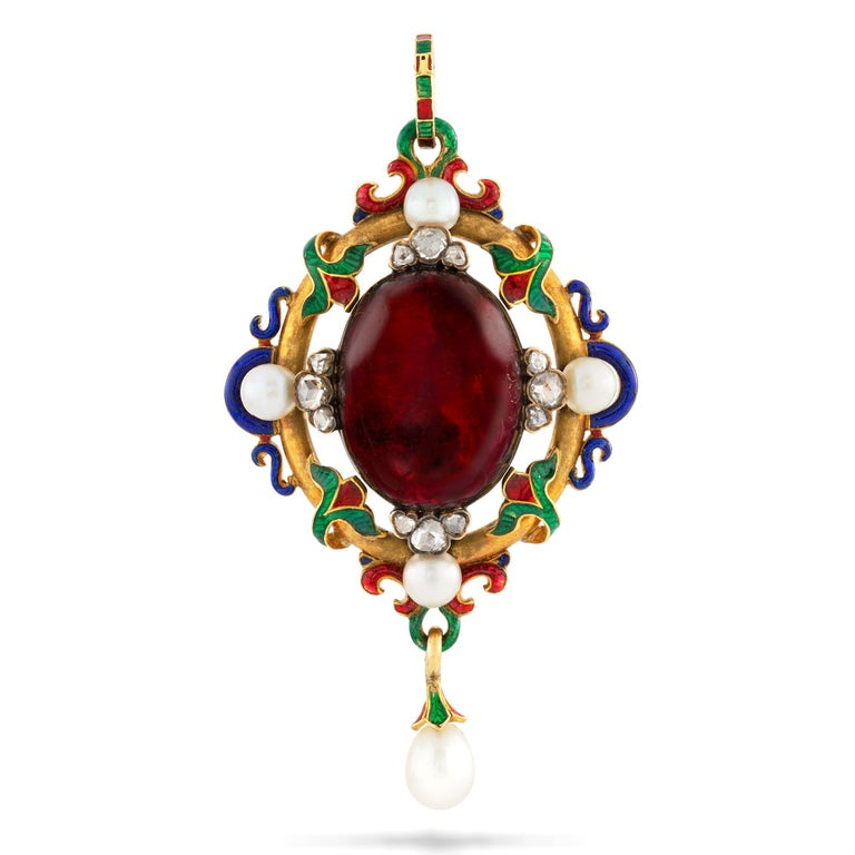 A Victorian Holbeinesque pendant, set to the centre with an oval cabochon-cut garnet, measuring approximately 14.9x19.1 mm, embellished with three rose-cut diamonds and a pearl on each side, all surrounded by a blue, red, green enamel and gold
