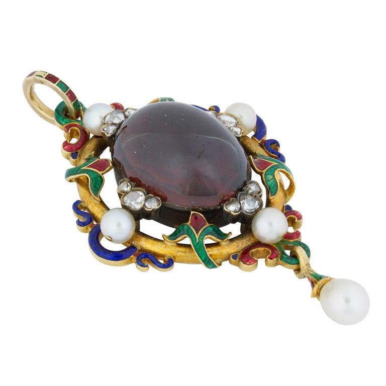 Cabochon Victorian Holbeinesque Garnet Pendant For Sale