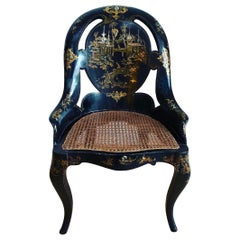 Victorian Japanned and Inlaid Papier Mâché Slipper Chair
