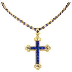 A Victorian Lapis, Half Pearl and Diamond Cross Pendant