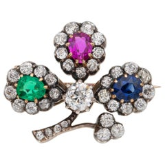 A Victorian Multi-colour Gem And Diamond Clover Leaf Brooch
