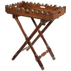 Victorian Oak Gothic Revival Folding Butlers Tray on Stand