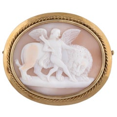 Victorian Oval Shell Cameo Brooch