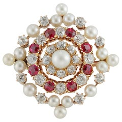 Victorian Pearl, Diamond and Ruby Brooch
